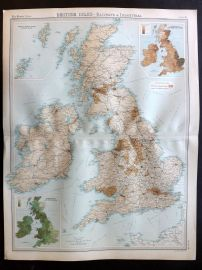 Bartholomew 1922 Large Map. British Isles, Railways & Industrial.
